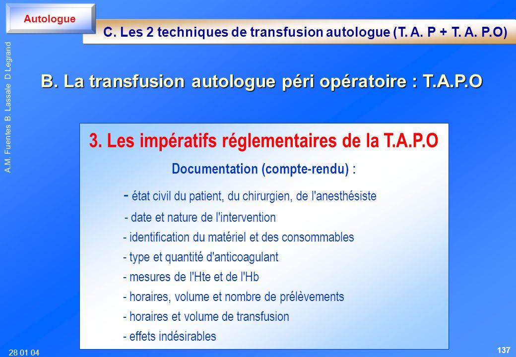 28 01 04 A.M. Fuentes B. Lassale D Legrand 3. Les impératifs réglementaires de la T.A.P.O Documentation (compte-rendu) : - état civil du patient, du c