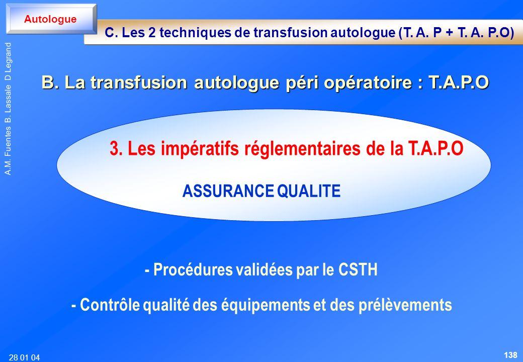 28 01 04 A.M. Fuentes B. Lassale D Legrand ASSURANCE QUALITE - Procédures validées par le CSTH - Contrôle qualité des équipements et des prélèvements