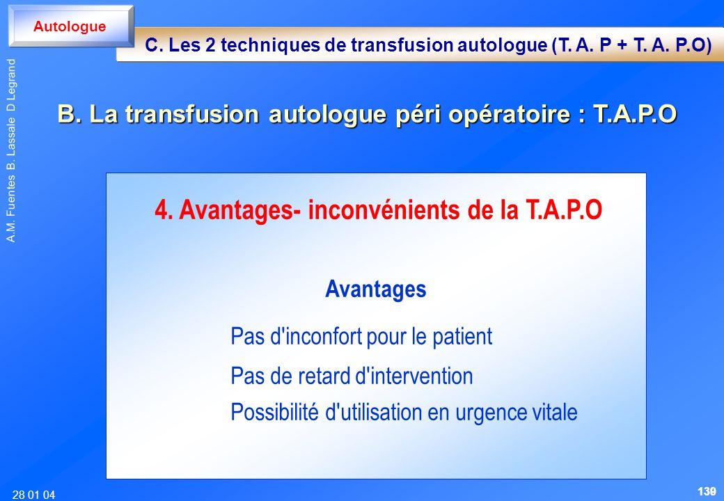 28 01 04 A.M. Fuentes B. Lassale D Legrand 4. Avantages- inconvénients de la T.A.P.O Avantages Pas d'inconfort pour le patient Pas de retard d'interve