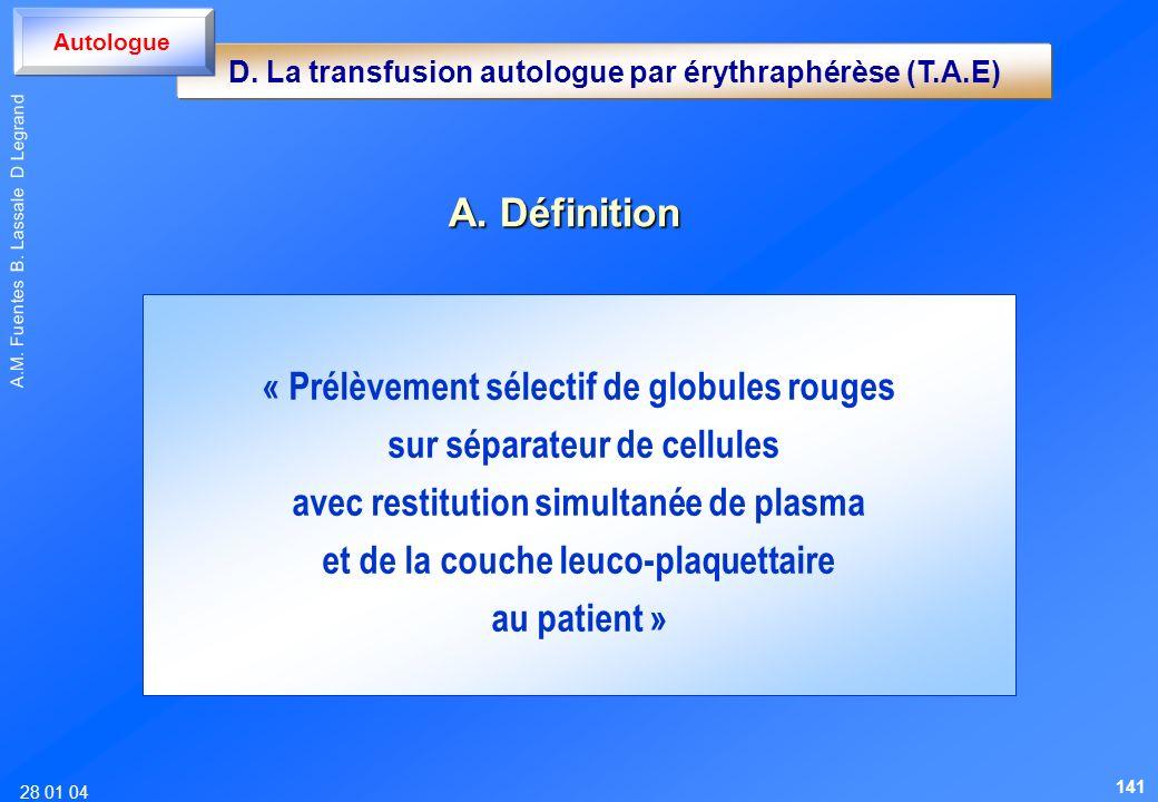 28 01 04 A.M. Fuentes B. Lassale D Legrand « Prélèvement sélectif de globules rouges sur séparateur de cellules avec restitution simultanée de plasma