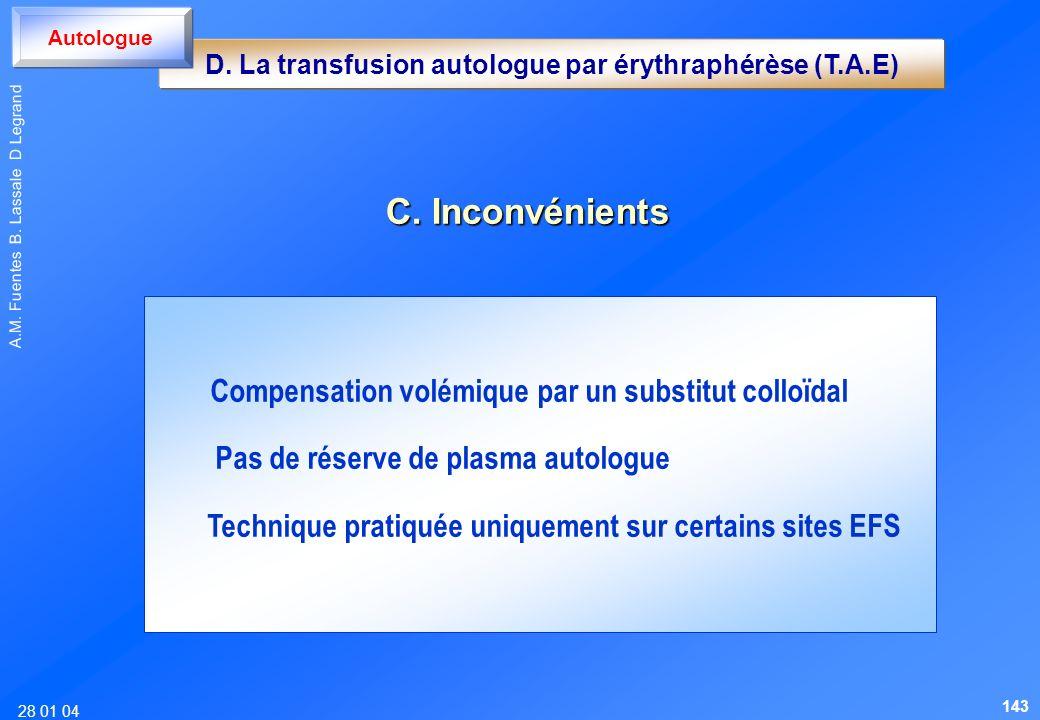 28 01 04 A.M. Fuentes B. Lassale D Legrand C. Inconvénients Compensation volémique par un substitut colloïdal Pas de réserve de plasma autologue Techn