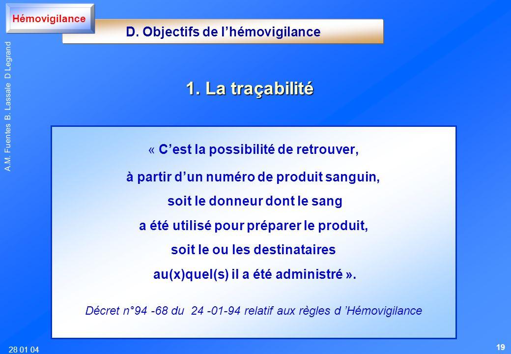 28 01 04 A.M. Fuentes B. Lassale D Legrand D. Objectifs de lhémovigilance Hémovigilance 1. La traçabilité « Cest la possibilité de retrouver, à partir