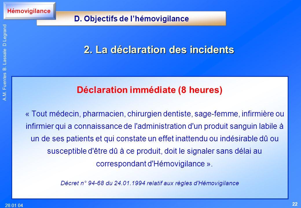 28 01 04 A.M. Fuentes B. Lassale D Legrand Déclaration immédiate (8 heures) « Tout médecin, pharmacien, chirurgien dentiste, sage-femme, infirmière ou