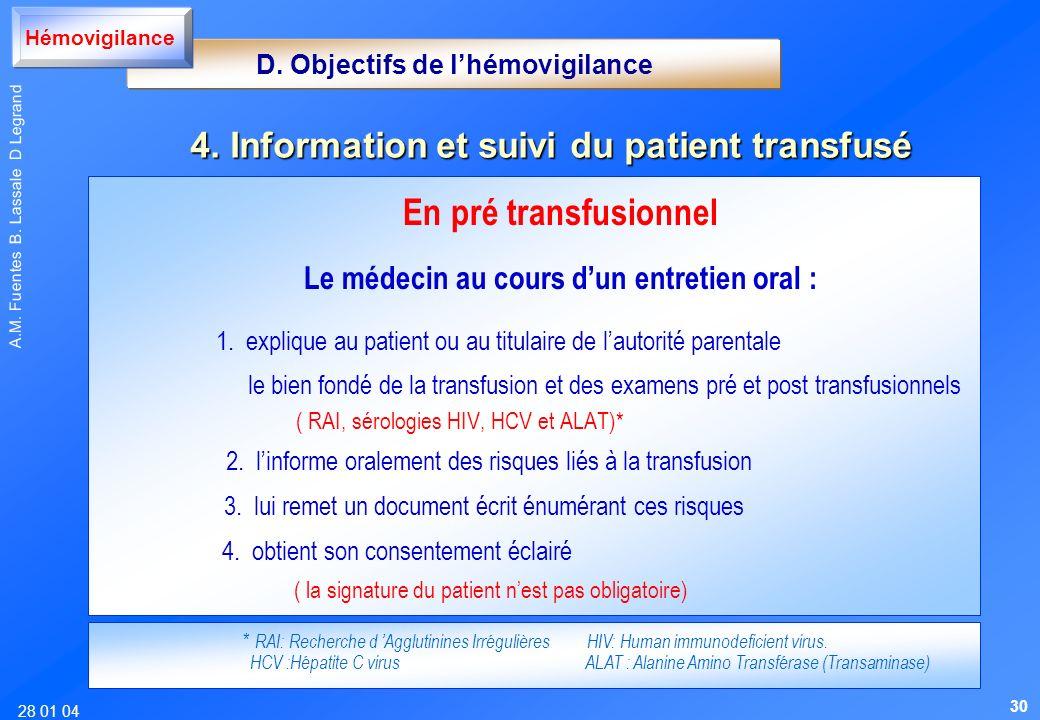 28 01 04 A.M. Fuentes B. Lassale D Legrand En pré transfusionnel Le médecin au cours dun entretien oral : 1. explique au patient ou au titulaire de la