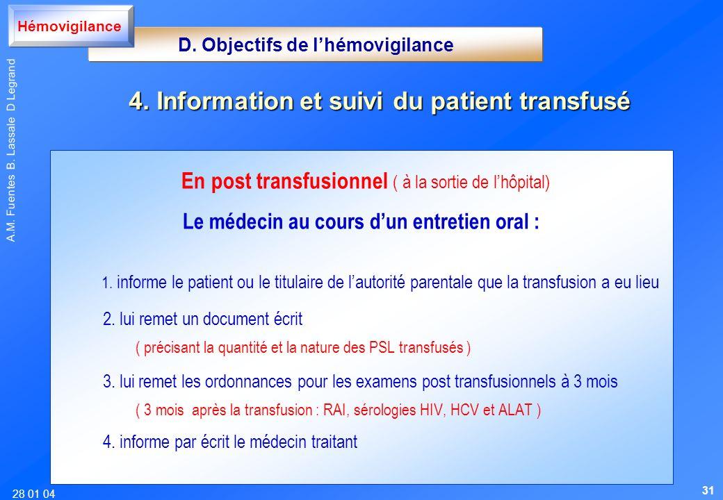 28 01 04 A.M. Fuentes B. Lassale D Legrand En post transfusionnel ( à la sortie de lhôpital) Le médecin au cours dun entretien oral : 1. informe le pa
