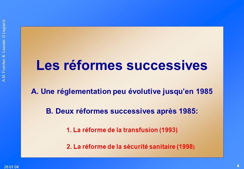 28 01 04 A.M. Fuentes B. Lassale D Legrand Les réformes successives A. Une réglementation peu évolutive jusquen 1985 B. Deux réformes successives aprè