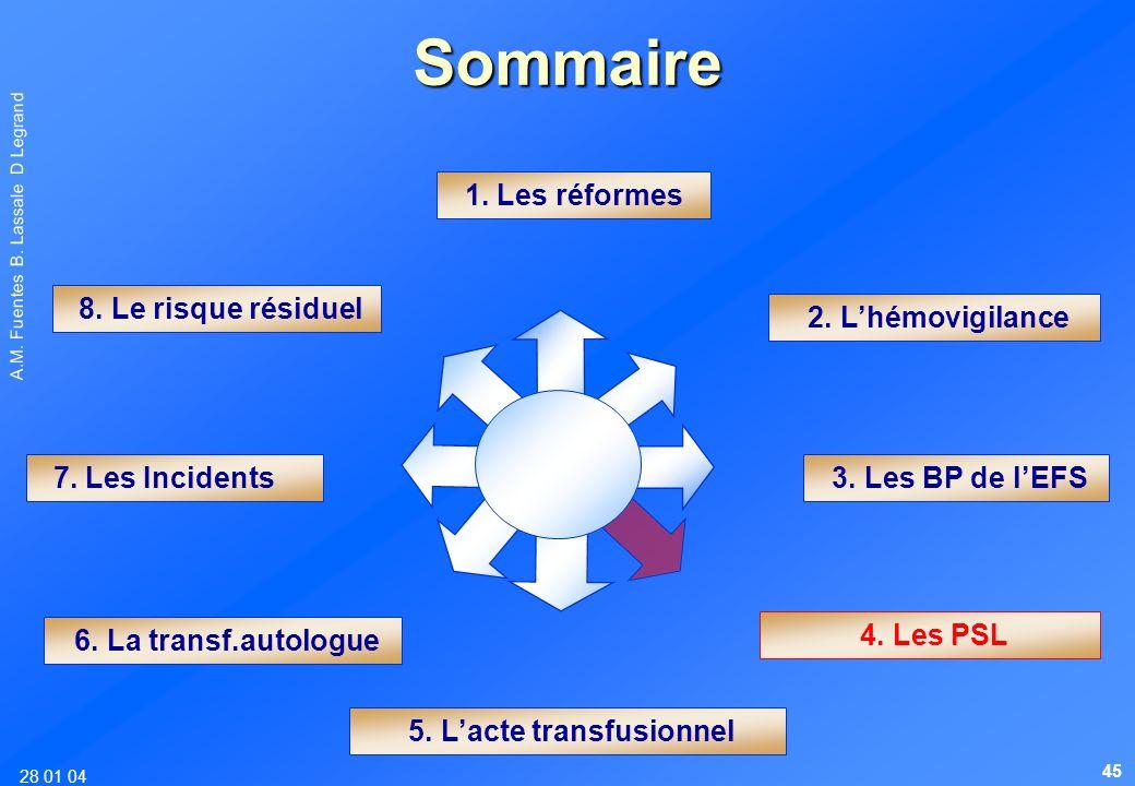 28 01 04 A.M. Fuentes B. Lassale D Legrand Sommaire 1. Les réformes 6. La transf.autologue 4. Les PSL 7. Les Incidents 8. Le risque résiduel 2. Lhémov