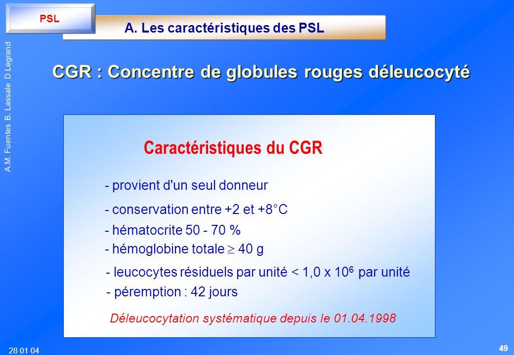 28 01 04 A.M. Fuentes B. Lassale D Legrand Caractéristiques du CGR - provient d'un seul donneur - conservation entre +2 et +8°C - hématocrite 50 - 70