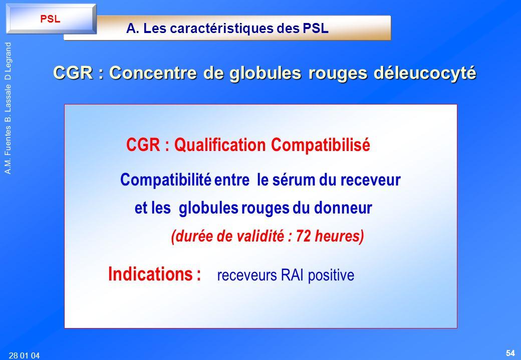 28 01 04 A.M. Fuentes B. Lassale D Legrand CGR : Qualification Compatibilisé Compatibilité entre le sérum du receveur et les globules rouges du donneu