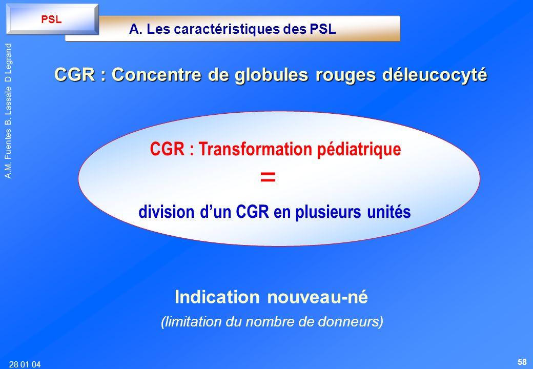28 01 04 A.M. Fuentes B. Lassale D Legrand division dun CGR en plusieurs unités CGR : Transformation pédiatrique A. Les caractéristiques des PSL PSL I