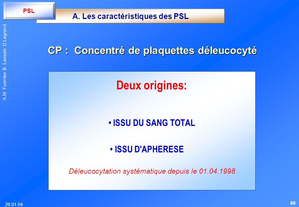 28 01 04 A.M. Fuentes B. Lassale D Legrand Deux origines: ISSU DU SANG TOTAL ISSU D'APHERESE Déleucocytation systématique depuis le 01.04.1998 CP : Co