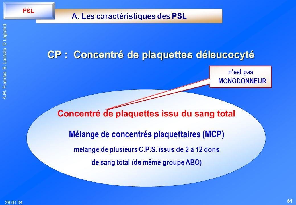 28 01 04 A.M. Fuentes B. Lassale D Legrand Mélange de concentrés plaquettaires (MCP) mélange de plusieurs C.P.S. issus de 2 à 12 dons de sang total (d