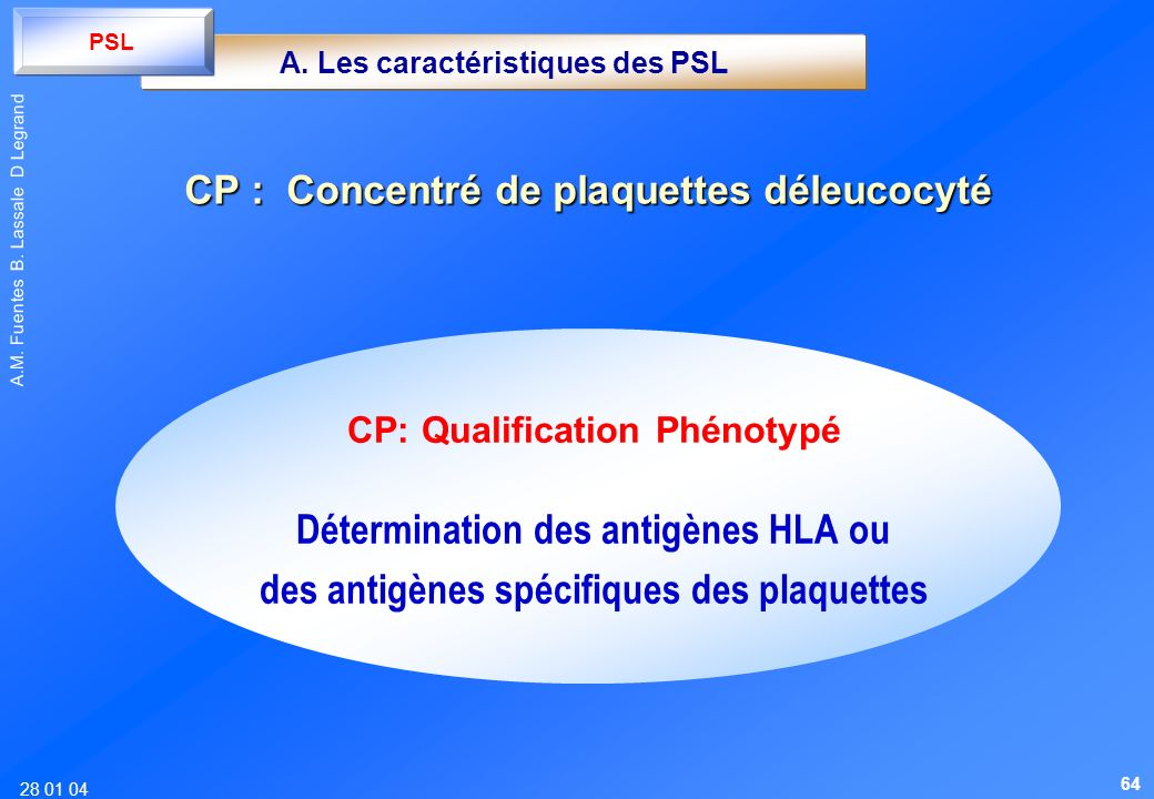 28 01 04 A.M. Fuentes B. Lassale D Legrand CP: Qualification Phénotypé Détermination des antigènes HLA ou des antigènes spécifiques des plaquettes A.