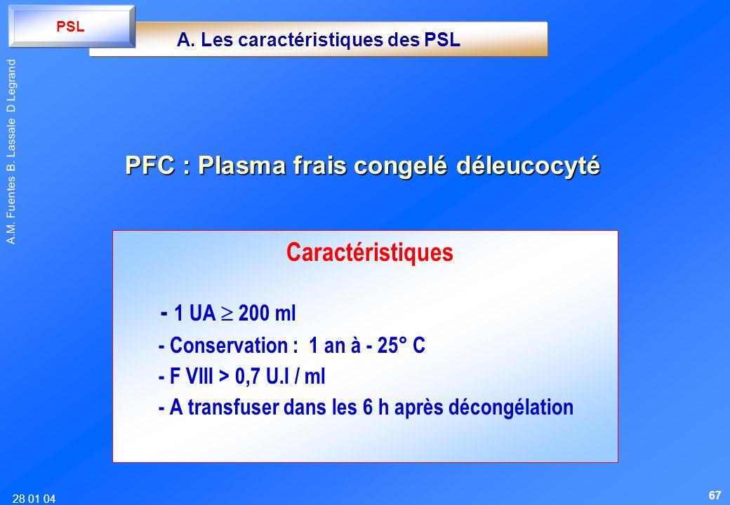 28 01 04 A.M. Fuentes B. Lassale D Legrand Caractéristiques - 1 UA 200 ml - Conservation : 1 an à - 25° C - F VIII > 0,7 U.I / ml - A transfuser dans