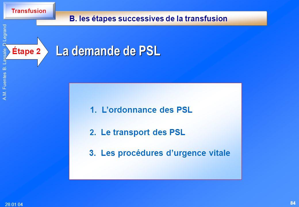 28 01 04 A.M. Fuentes B. Lassale D Legrand 1. Lordonnance des PSL 2. Le transport des PSL 3. Les procédures durgence vitale La demande de PSL Étape 2