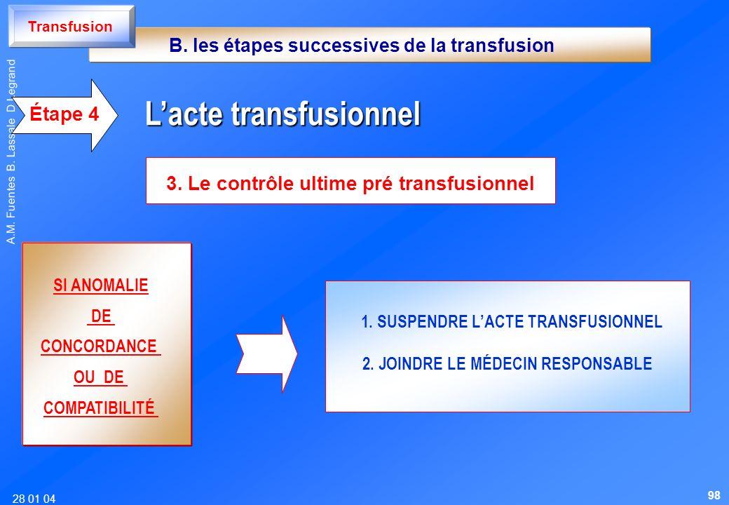 28 01 04 A.M. Fuentes B. Lassale D Legrand 3. Le contrôle ultime pré transfusionnel Lacte transfusionnel Lacte transfusionnel Étape 4 SI ANOMALIE DE C
