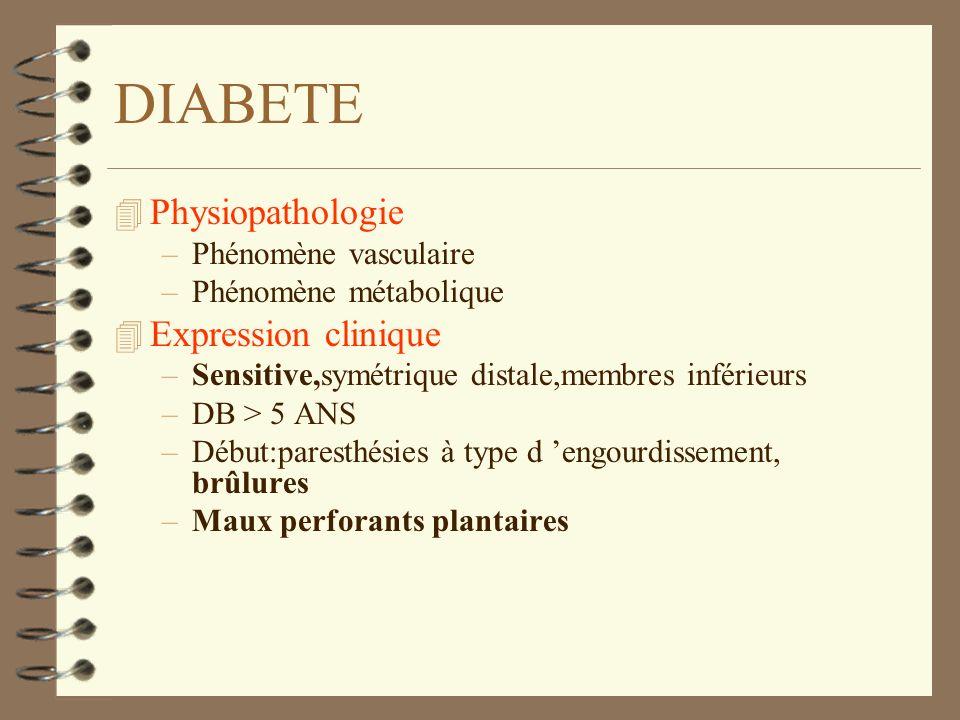 DIABETE 4 Physiopathologie –Phénomène vasculaire –Phénomène métabolique 4 Expression clinique –Sensitive,symétrique distale,membres inférieurs –DB > 5