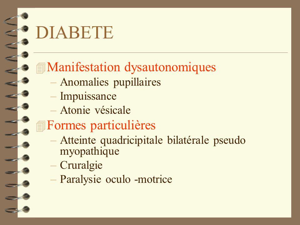 DIABETE 4 Manifestation dysautonomiques –Anomalies pupillaires –Impuissance –Atonie vésicale 4 Formes particulières –Atteinte quadricipitale bilatéral