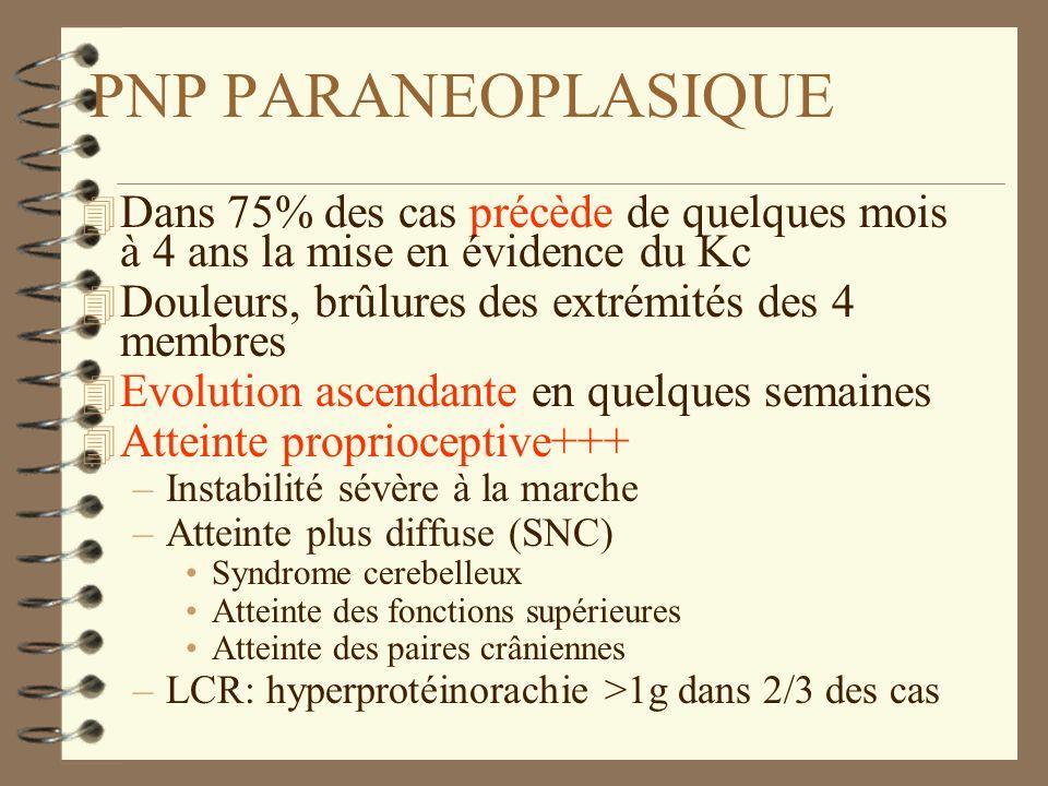 PNP PARANEOPLASIQUE 4 Dans 75% des cas précède de quelques mois à 4 ans la mise en évidence du Kc 4 Douleurs, brûlures des extrémités des 4 membres 4