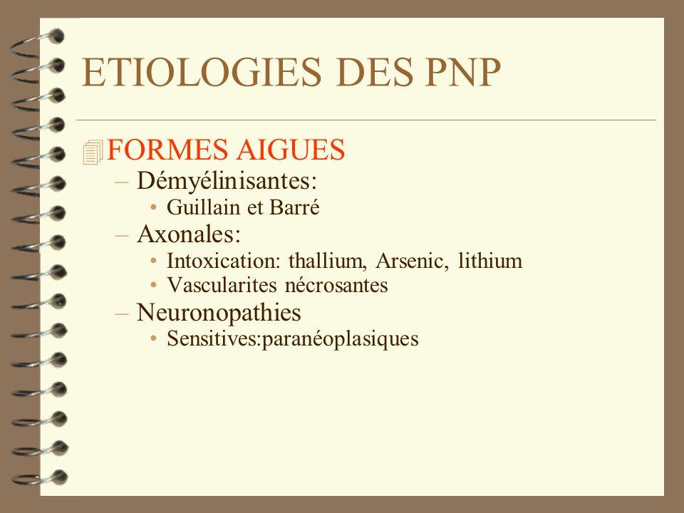 ETIOLOGIES DES PNP 4 FORMES AIGUES –Démyélinisantes: Guillain et Barré –Axonales: Intoxication: thallium, Arsenic, lithium Vascularites nécrosantes –N