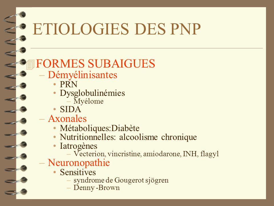 ETIOLOGIES DES PNP 4 FORMES SUBAIGUES –Démyélinisantes PRN Dysglobulinémies –Myélome SIDA –Axonales Métaboliques:Diabète Nutritionnelles: alcoolisme c