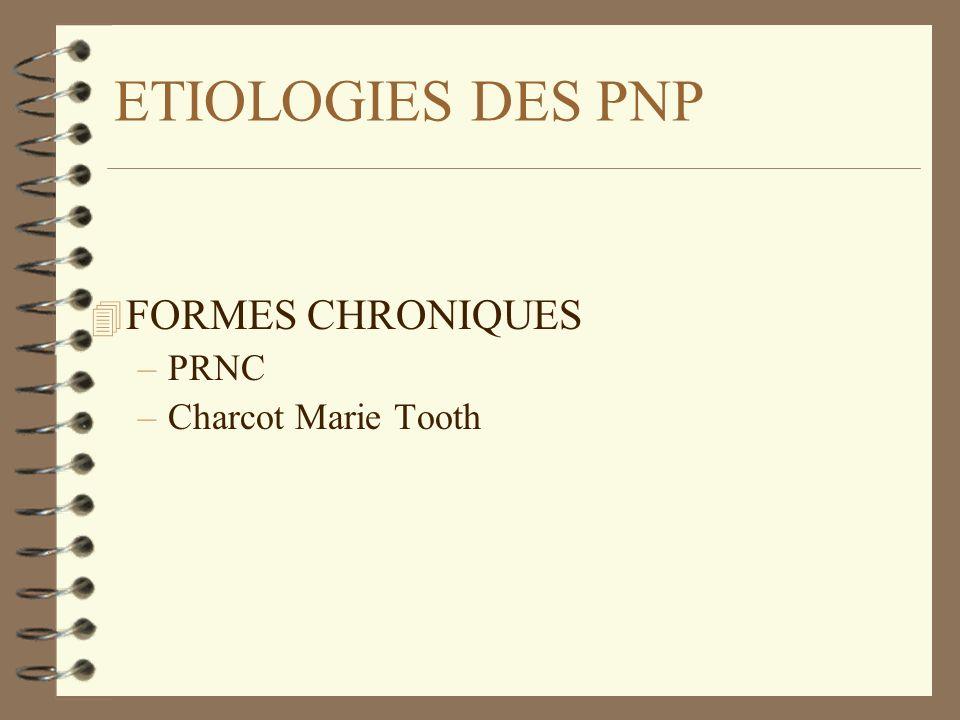 ETIOLOGIES DES PNP 4 FORMES CHRONIQUES –PRNC –Charcot Marie Tooth