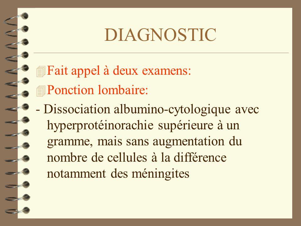 DIAGNOSTIC 4 Fait appel à deux examens: 4 Ponction lombaire: - Dissociation albumino-cytologique avec hyperprotéinorachie supérieure à un gramme, mais
