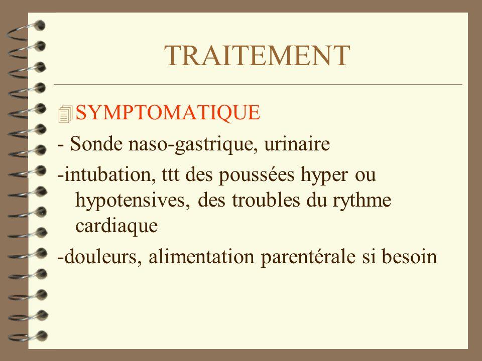 TRAITEMENT 4 SYMPTOMATIQUE - Sonde naso-gastrique, urinaire -intubation, ttt des poussées hyper ou hypotensives, des troubles du rythme cardiaque -dou