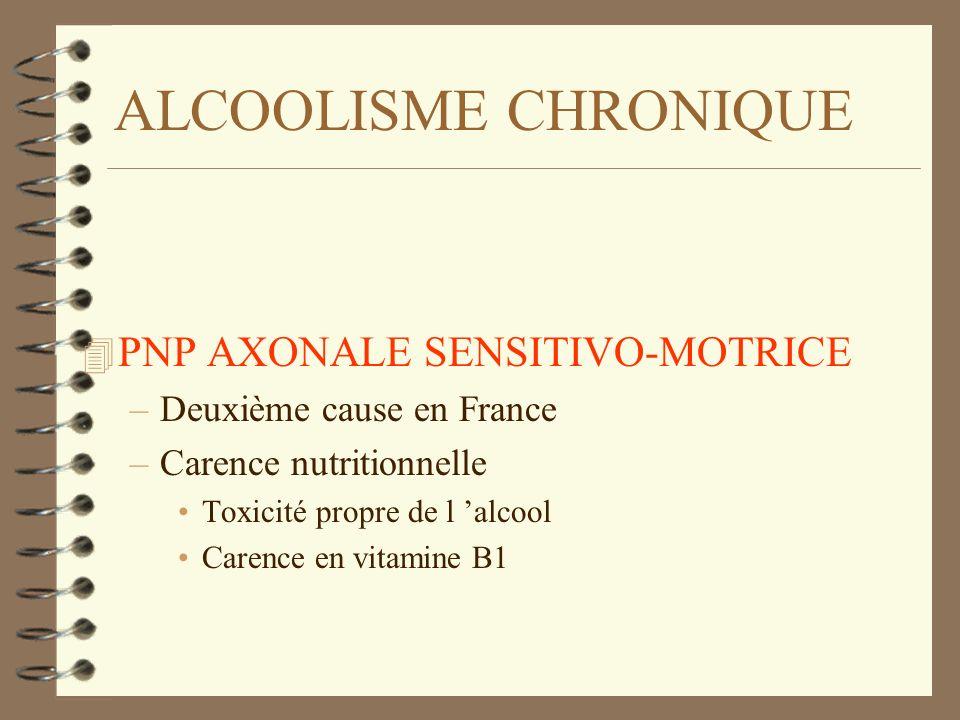 ALCOOLISME CHRONIQUE 4 PNP AXONALE SENSITIVO-MOTRICE –Deuxième cause en France –Carence nutritionnelle Toxicité propre de l alcool Carence en vitamine