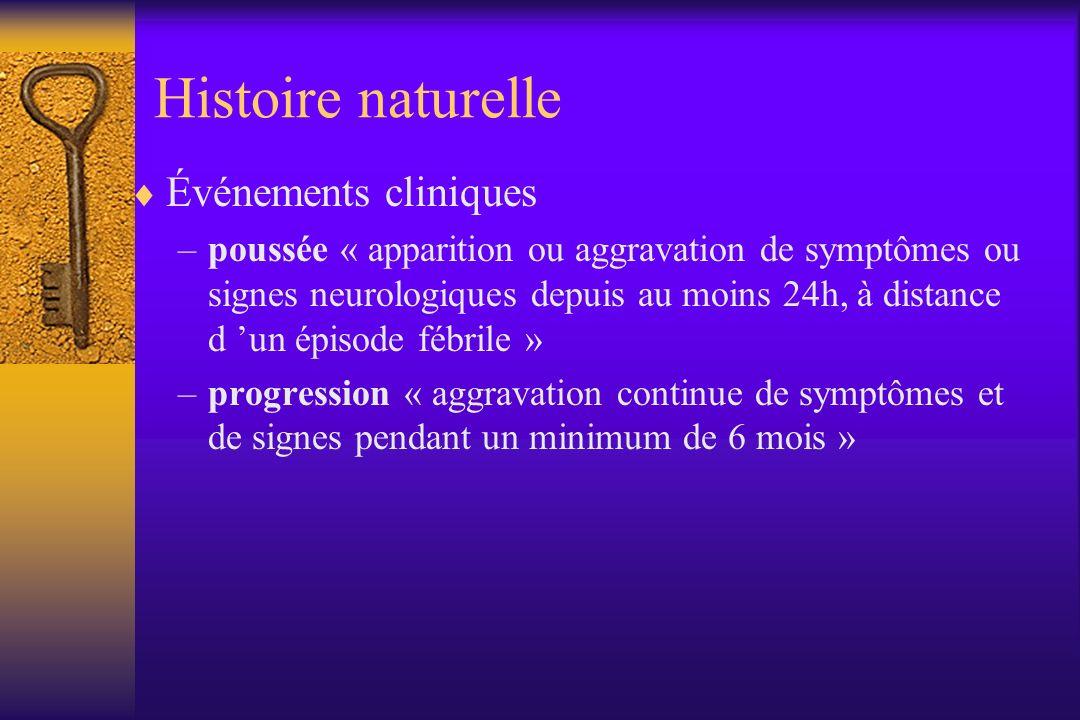 Histoire naturelle Événements cliniques –poussée « apparition ou aggravation de symptômes ou signes neurologiques depuis au moins 24h, à distance d un