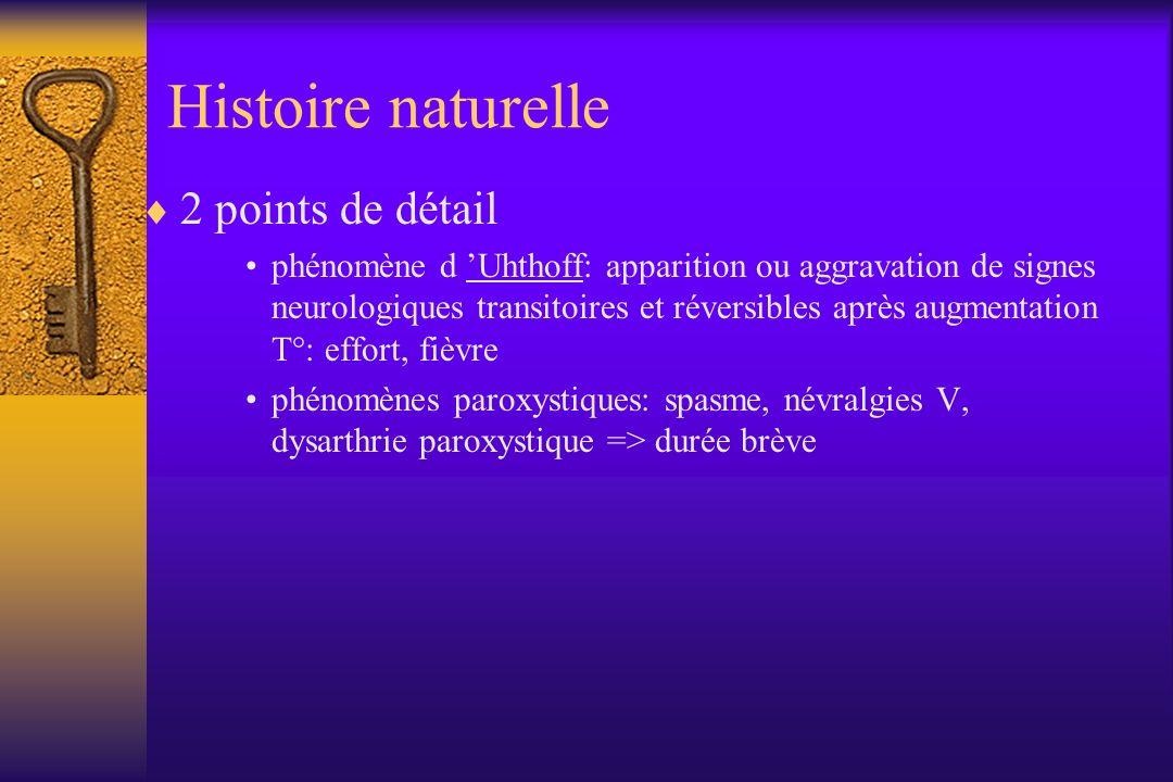 Evolution forme rémittente (RR) forme secondairement progressive (SP) –avec poussées –sans poussées forme progressive primaire (PP) forme progressive rémittente (PR)