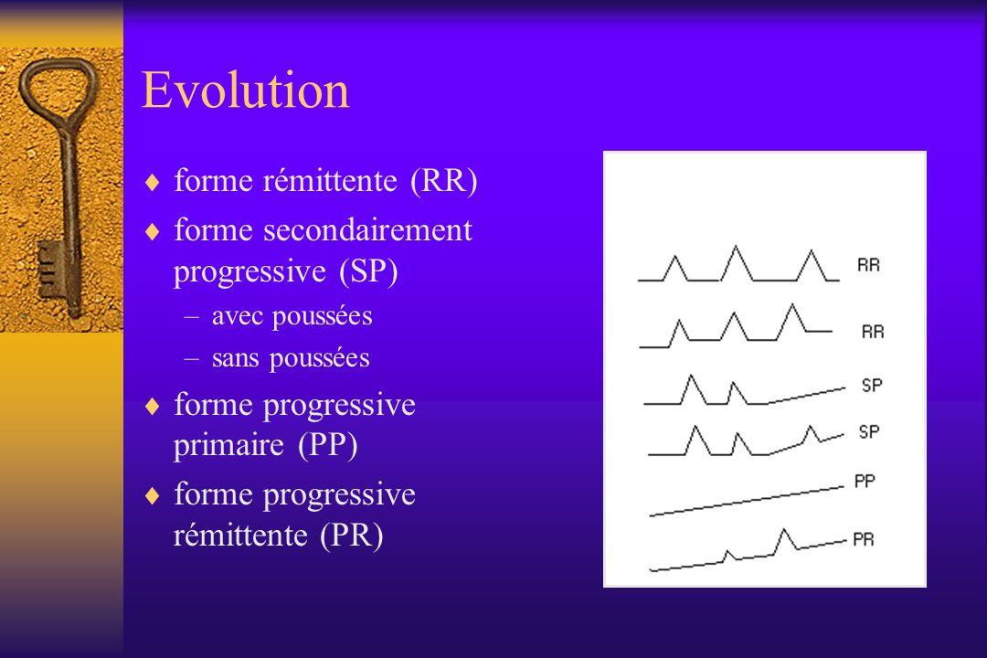 Evolution forme rémittente (RR) forme secondairement progressive (SP) –avec poussées –sans poussées forme progressive primaire (PP) forme progressive