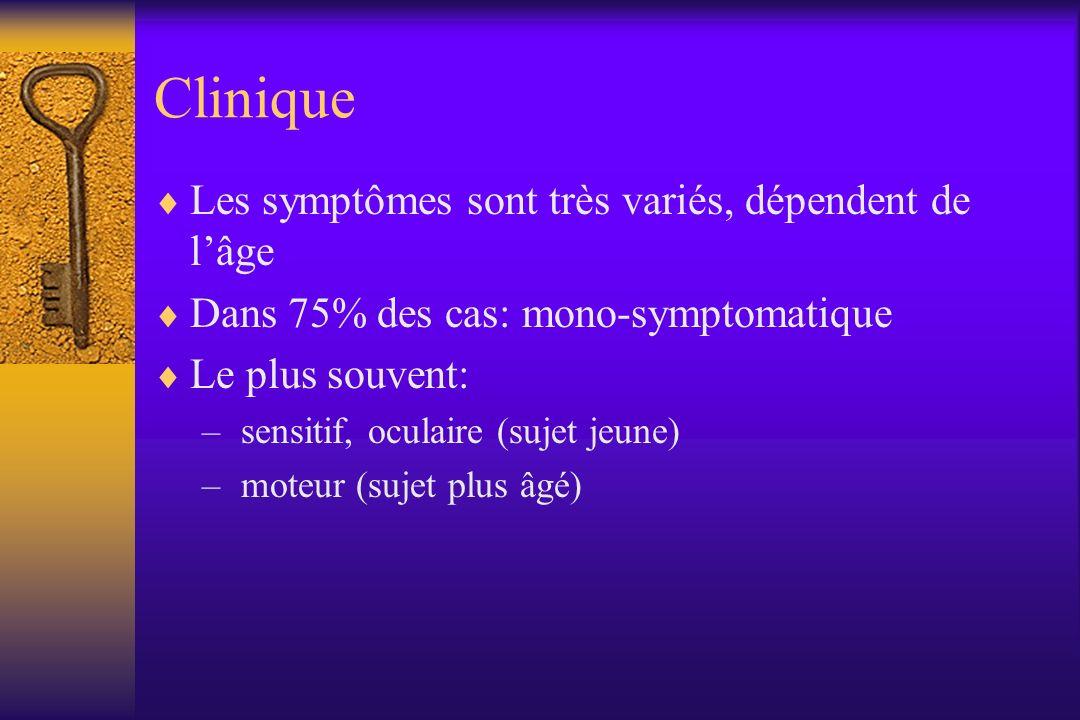 Clinique Les symptômes sont très variés, dépendent de lâge Dans 75% des cas: mono-symptomatique Le plus souvent: – sensitif, oculaire (sujet jeune) –
