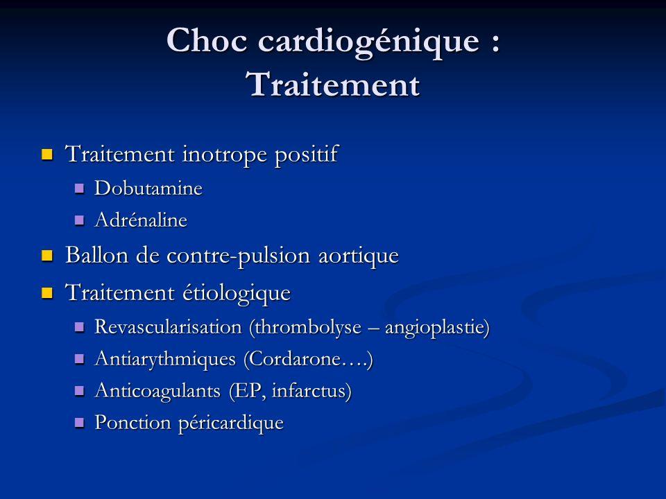 Choc cardiogénique : Traitement Traitement inotrope positif Traitement inotrope positif Dobutamine Dobutamine Adrénaline Adrénaline Ballon de contre-p