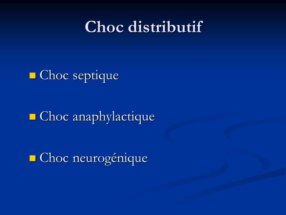 Choc distributif Choc septique Choc septique Choc anaphylactique Choc anaphylactique Choc neurogénique Choc neurogénique
