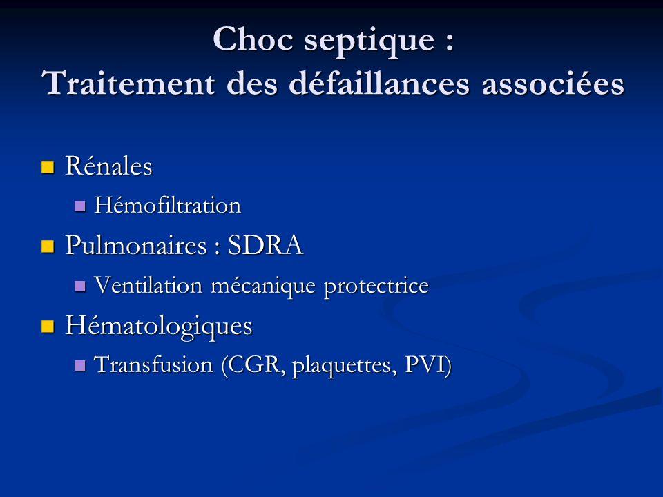 Choc septique : Traitement des défaillances associées Rénales Rénales Hémofiltration Hémofiltration Pulmonaires : SDRA Pulmonaires : SDRA Ventilation