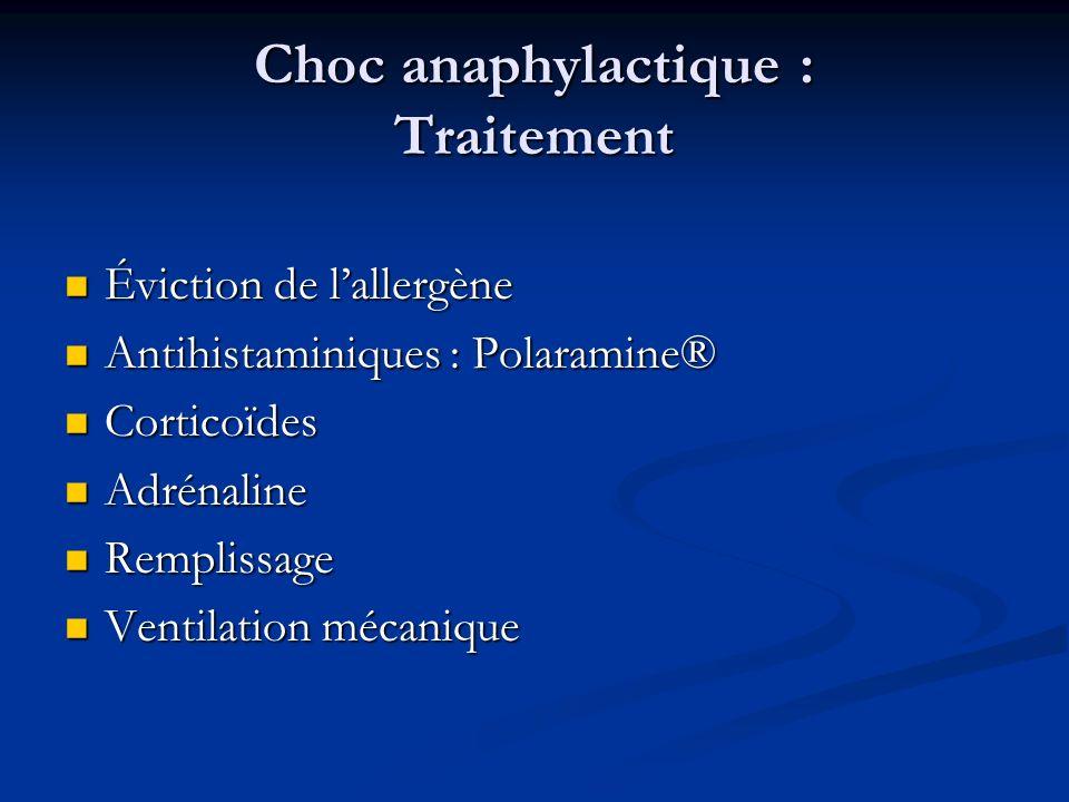Choc anaphylactique : Traitement Éviction de lallergène Éviction de lallergène Antihistaminiques : Polaramine® Antihistaminiques : Polaramine® Cortico