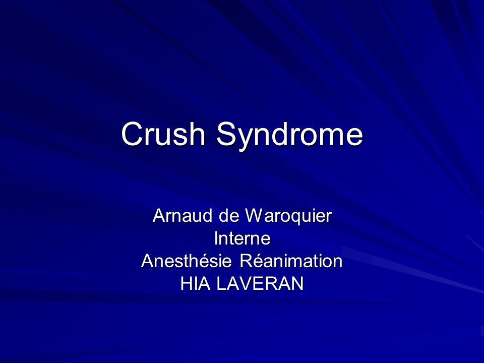 « Crush » = Ecrasement Sapplique aux traumatismes des membres Peut survenir chez un sujet polytraumatisé Complication immédiate de fractures Le pronostic nest pas seulement lié au membre atteint