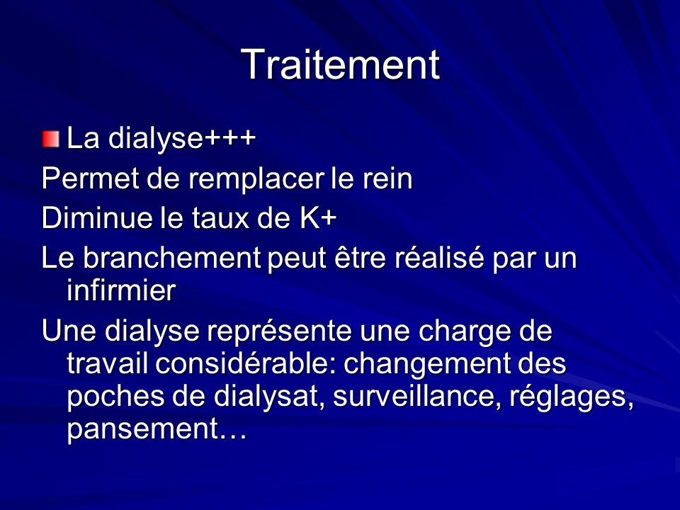 Traitement La dialyse+++ Permet de remplacer le rein Diminue le taux de K+ Le branchement peut être réalisé par un infirmier Une dialyse représente un