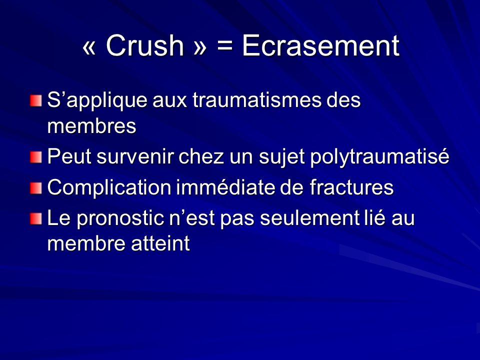 « Crush » = Ecrasement Sapplique aux traumatismes des membres Peut survenir chez un sujet polytraumatisé Complication immédiate de fractures Le pronos