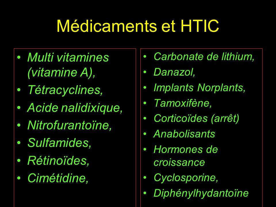 Médicaments et HTIC Multi vitamines (vitamine A), Tétracyclines, Acide nalidixique, Nitrofurantoïne, Sulfamides, Rétinoïdes, Cimétidine, Carbonate de