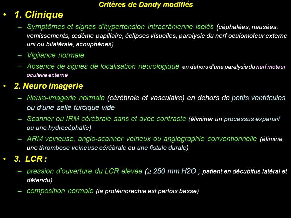 Critères de Dandy modifiés 1. Clinique –Symptômes et signes dhypertension intracrânienne isolés ( céphalées, nausées, vomissements, œdème papillaire,