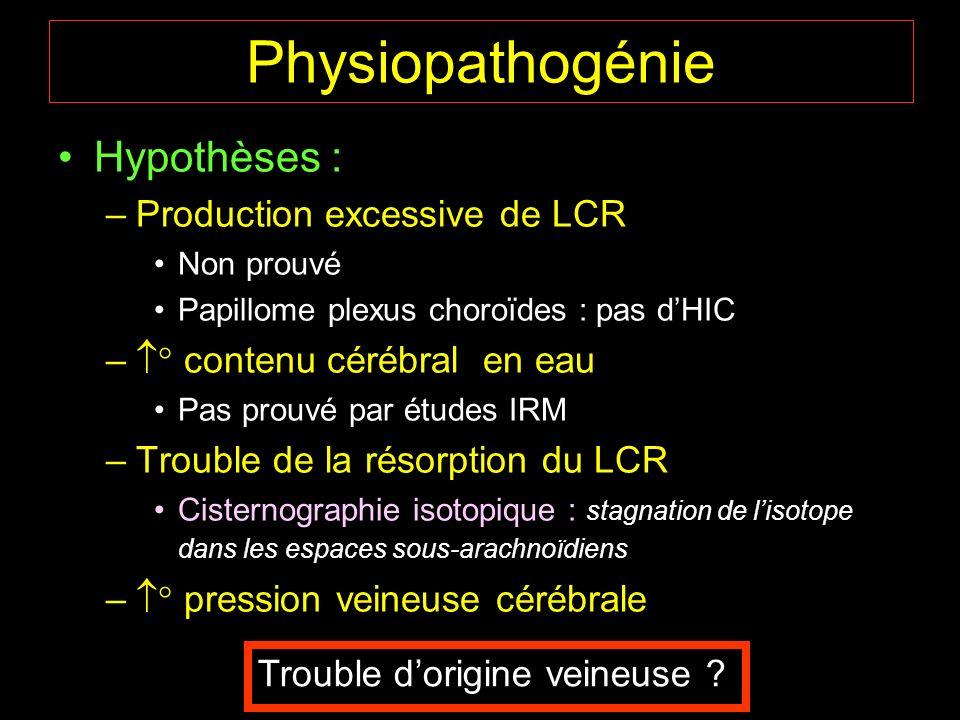 Hypothèses : –Production excessive de LCR Non prouvé Papillome plexus choroïdes : pas dHIC – contenu cérébral en eau Pas prouvé par études IRM –Troubl