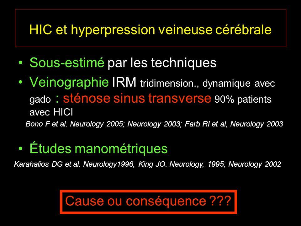 HIC et hyperpression veineuse cérébrale Sous-estimé par les techniques Veinographie IRM tridimension., dynamique avec gado : sténose sinus transverse