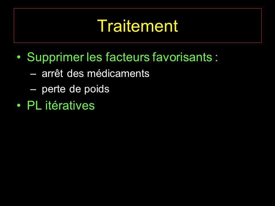 Supprimer les facteurs favorisants : – arrêt des médicaments – perte de poids PL itératives