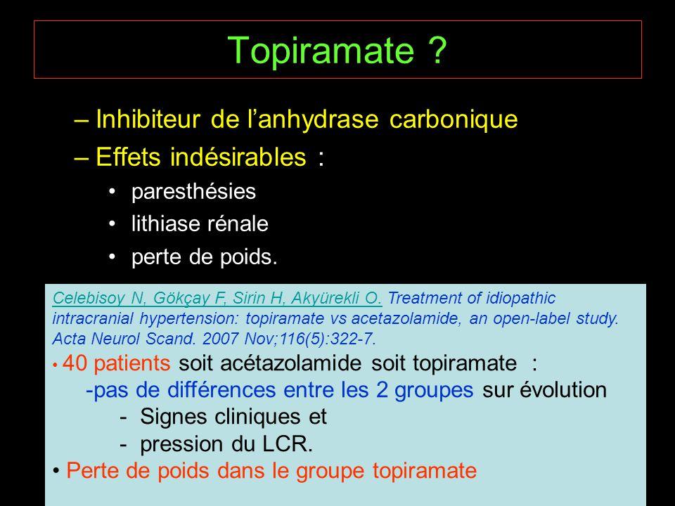 Topiramate ? –Inhibiteur de lanhydrase carbonique –Effets indésirables : paresthésies lithiase rénale perte de poids. Celebisoy N, Gökçay F, Sirin H,