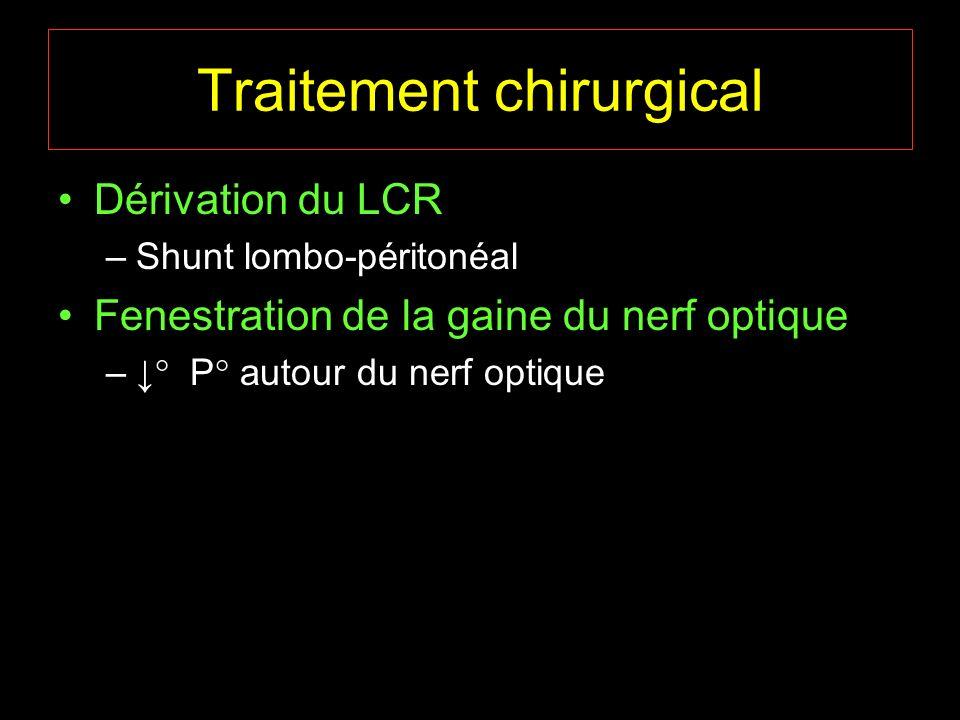 Traitement chirurgical Dérivation du LCR –Shunt lombo-péritonéal Fenestration de la gaine du nerf optique – P autour du nerf optique