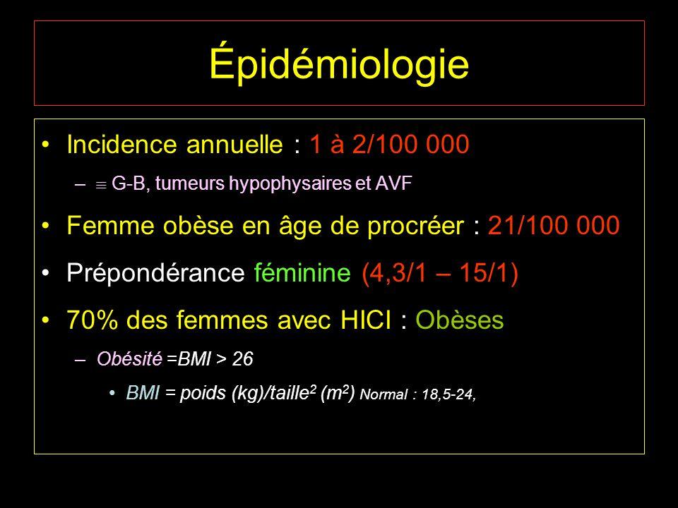 Épidémiologie Incidence annuelle : 1 à 2/100 000 – G-B, tumeurs hypophysaires et AVF Femme obèse en âge de procréer : 21/100 000 Prépondérance féminin
