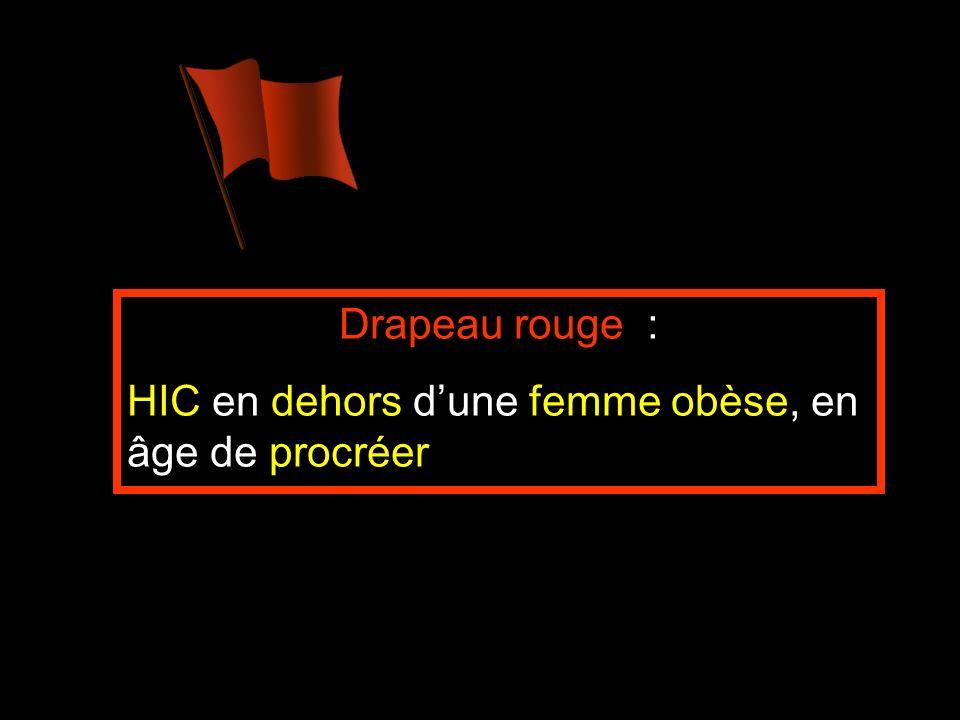Drapeau rouge : HIC en dehors dune femme obèse, en âge de procréer