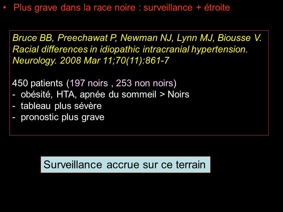Plus grave dans la race noire : surveillance + étroite Bruce BB, Preechawat P, Newman NJ, Lynn MJ, Biousse V. Racial differences in idiopathic intracr